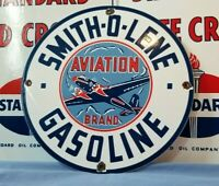VINTAGE SMITHOLENE GASOLINE PORCELAIN GAS SERVICE STATION AVIATION PUMP SIGN