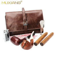 Brown Tobacco Pipe Pouch Soft Cow Leather Smoking Pouch Case Bag Holder 2 Pipe