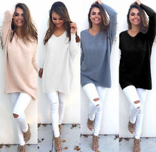 Hot Womens Casual Long Sleeve Knitted V Neck Pullover Loose Sweater Jumper