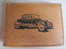 Mankind Wallets-Men's Tan Leather RFID Billfold-FREE 1932 Ford Hot Rod Image