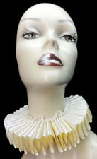 Ivory Satin Lace Elizabethan Neck Ruff Ruffled Collar Victorian Steampunk Tudor