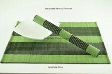 4 Bamboo Placemats Handmade Table Mats, Green - Black, P005