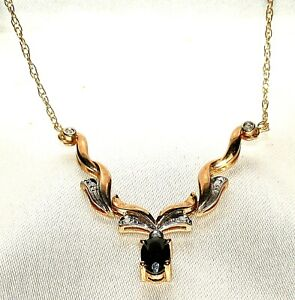 DAZZLING SECONDHAND 9ct YELLOW GOLD SAPPHIRE & DIAMOND NECKLACE 45cm