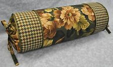 Corded Neckroll Pillow made w Ralph Lauren Edgefield Floral & Houndstooth Fabric