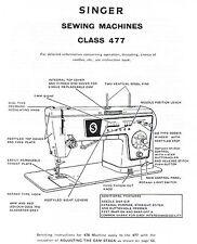 Singer Models 477 478 Sewing Machine Service Repair Manual + Faultfinding Chart