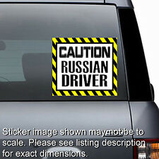 Caution Russian Driver - Window Laptop Bumper Sticker