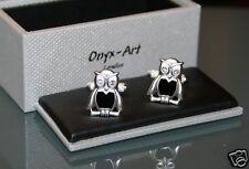 Novelty Mens Cufflinks - Owl Design + Crystal Eye *New*