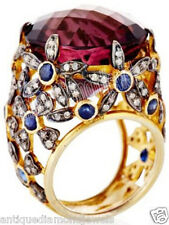 2.90ct ROSE CUT DIAMOND RUBY SAPPHIRE 925  SILVER VICTORIAN LOOK  RING