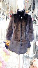 GORGEOUS BLACK Mink Fur Coat FOX FUR Sleeves Hemline RARE Custom Made