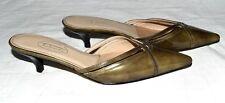 TALBOTS Brown Patent Leather Womens Kitten Heel Slides Size 5.5 M Spain NWOT