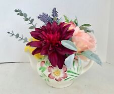Floral Arrangement with Multi-Colored Silk Flowers in a Vintage Japanese Floral