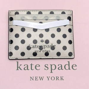Kate spade Staci Picture Dot Slim Card Holder Case With Black Polka Dots New