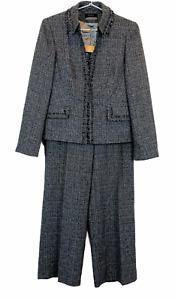 Principles Petite Womens Black Lined Suit Jacket Size12 and Pants Size 10