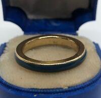 Vintage Ring Size 8 Gold Tone Enamel Band Blue