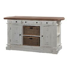 Large Kitchen Counter Island with Baskets Bar White Distressed with Driftwood