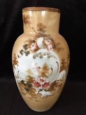 "Vintage Milk Glass Hand Painted Floral w/Landscape Motif Vase, 12 1/2"" Tall"
