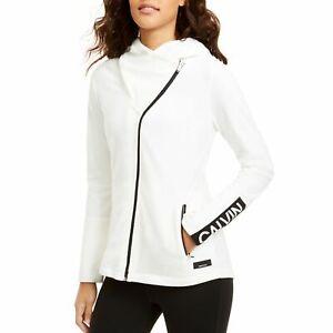 Calvin Klein Womens Cloud White Asymmetrical-Zip Hooded Jacket Sz XL $69 *STAINS
