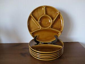 GIEN Vintage 6 assiettes à fondue à compartiments barbotine