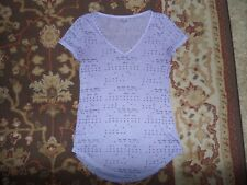 MUDD JUNIORS SIZE SMALL PURPLE SHEER T SHIRT V NECK ARROWS
