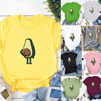Women Summer Short Sleeve T-shirt Tops Casual Funny Avocado Print Graphic Tees