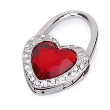 Support hook of Handbag Folding in Red Heart Shape with Rhinestone Decorati K2I8