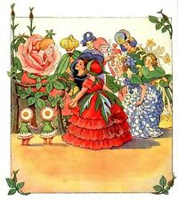 Rose Queen and Flower Ladies Elsa Beskow Fairy Tale Postcard Sweden