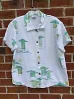Hot Cotton White Top Beach Shirt Lagenlook Blouse Tunic Size Small Short Sleeve