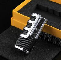 COHIBA Black Gridding Stripes 3 Jet Flame Cigarette Cigar Lighter W/Punch