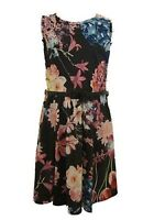 Girls Kids Black Floral Print Skater Party Dress Summer Age 7 8 9 10 11 12 13