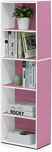 Furinno 5 Tier Cube Bookcase Display Shelving Storage Unit Wood Furniture Pink