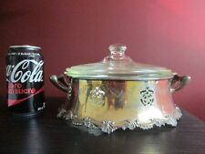 SILVER PLATE OLD ENGLISH REPRODUCTION EP COPPER w Glasbake Poppy Casserole & Lid