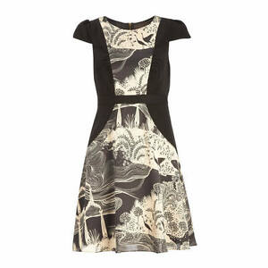 BNWT Monsoon Clearwater Black Cream Print Vintage Evening Occasion Dress Size 10