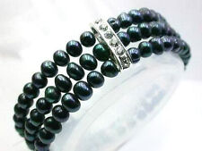 3 Rows Real 7-8mm Black Freshwater Pearl 18KWGP Crystal Stretchy Bangle Bracelet