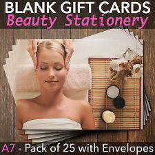 Gift Voucher Card Massage/Beauty/Nail Salons/Therapists x25 + FREE Envelopes BEA