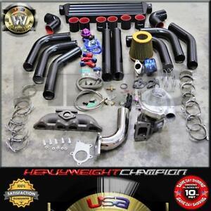 94-02 Honda Accord CL F22 F23 Turbo Charger Kit T3/T4 Manifold+Intercooler+Bov