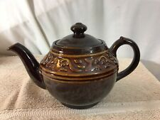 """Vintage Collectible Ceramic Brown Teapot W/Symbols Made in Japan 6"""" Tall pre-own"""