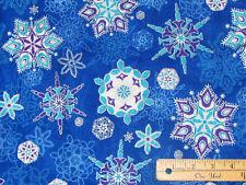 Holiday Flourish Blue Snowflake Metallic Kaufman Fabric by the 1/2 Yd 17337-78