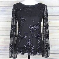 White House Black Market Sequined Floral Mesh Long Sleeve Top Black WHBM Size XS