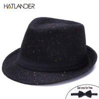 Retro Gentleman panama fedora hat mens Jazz billycock cap outdoor
