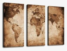 Yearainn Large World Map Canvas Prints Vintage Style, 3 Panels Antique Map of