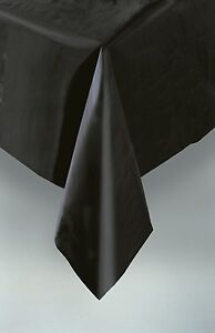 Black Table Cloth Rectangle Plastic Funeral Halloween Table Cloth 9ft x 4.5ft