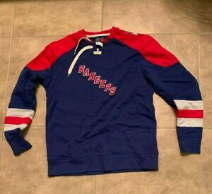 New York Rangers Red & Blue Pullover Sweatshirt Majestic w/ Laces Adult M Medium