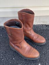 New listing Wolverine Men's 8 Ew Brown Leather Work Western Boots Slip-Resistant Wellington
