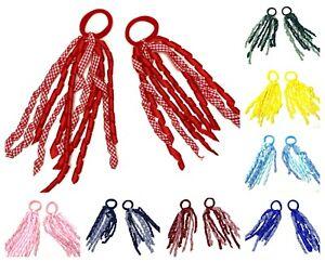 2 Gingham School Streamer Spiral Hair Ribbons Bobbles Hair Band Hair Accessories