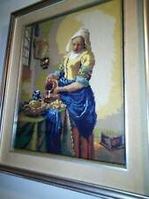 quadro cm 63 x 52 finemente ricamato a mezzopunto - la lattaia