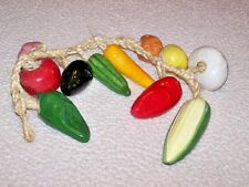 Vtg From Mexico X-Large Ceramic Veggies On A Rope.Great Detail&Coloring Nice!
