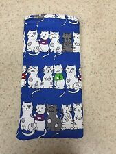 Sunglass / Eyeglass Soft Fabric Case - Kittens All in A Row - Blue Background