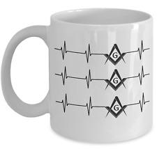 Freemason coffee mug - Freemasonry Heart beat - Masonic accessories gift cup