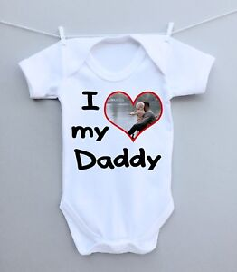 Personalised baby photo bodysuit,grow, vest! i love daddy fathers day gift