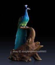China Copper Handpainted Home Art Deco Sculpture Bird Peacock Peafowl Wine Rack